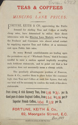 Advert For Fortune, Keith & Co, Tea Merchants